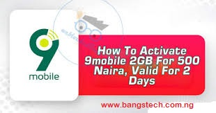 How To Activate 9mobile 2GB For 500 Naira, Valid For 2 Days