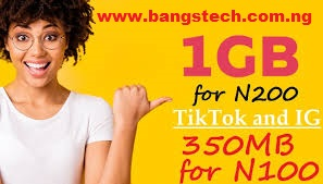 MTN Instagram and Tiktok Plans, Get 1GB For 200 Naira